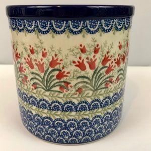 Polish Pottery Coral Bells Utensil Holder New